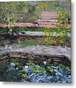 Pond In The English Walled Gardens Metal Print