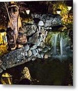 Pond Waterfall And Chuck The Bear Metal Print