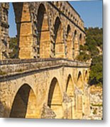 Pont Du Gard Roman Aquaduct Languedoc-roussillon France Metal Print by Colin and Linda McKie