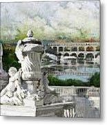 Pont Du Gard Roman Aqueduct Metal Print