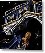 Ponte Di Rialto - Grand Canal Venise Gondola Illustration Metal Print