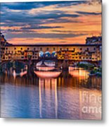 Ponte Vecchio At Sunset Metal Print
