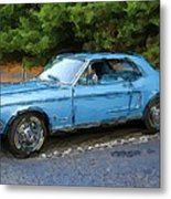 Pony Blue Metal Print
