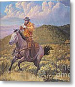 Pony Express Rider At Look Out Pass Metal Print