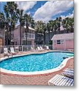Pool And Cottages Metal Print