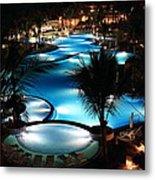 Pool At Night Metal Print