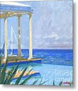 Pool Cabana Morning Metal Print
