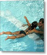 Pool Couple 9717b Metal Print