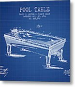 Pool Table Patent From 1901 - Blueprint Metal Print