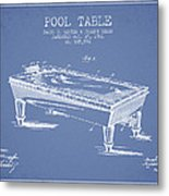 Pool Table Patent From 1901 - Light Blue Metal Print