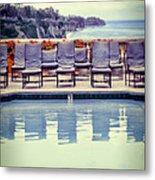 Pool With Views Of The Ocean Metal Print