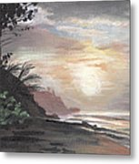Pools Beach Sunset Metal Print by Sarah Lynch