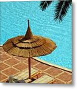 Poolside Relaxation Metal Print