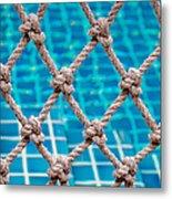 Poolside Robe Fence Metal Print