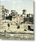 Poor Suburb Of The City Oil Painting On Burlap Metal Print