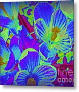 Pop Art Blue Crocuses Metal Print