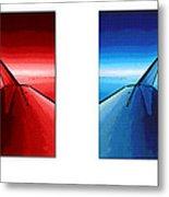 Red Blue Jet Pop Art Planes  Metal Print