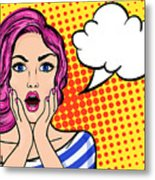 Pop Art Surprised Woman With Open Mouth Metal Print
