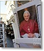Pope Benedict Xvi. Postcard In A Rack. Rome. Lazio. Italy. Europe Metal Print by Bernard Jaubert