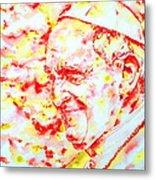 Pope Francis Profile -watercolor Portrait Metal Print