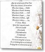 Pope Francis St. Francis Simple Prayer Daisies Metal Print by Desiderata Gallery