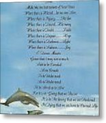 Pope Francis St. Francis Simple Prayer Dolphins Tking A Leap Of Faith Metal Print by Desiderata Gallery