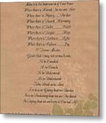 Pope Francis St. Francis Simple Prayer Organic Peace Leaves Metal Print by Desiderata Gallery