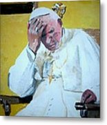 Pope Praying Metal Print