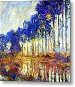 Poplars On River Epte Metal Print