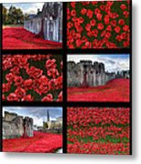 Poppies At The Tower Collage Metal Print