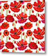 Poppies Field. Seamless Vector Pattern Metal Print