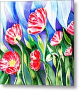 Poppies Field Square Quilt  Metal Print