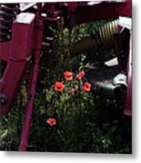 Poppies Growing Amongst Farm Machinery In A Farmyard Near Pocklington Yorkshire Wolds East Yorkshire Metal Print