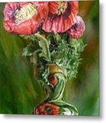 Poppies In A Poppy Vase Metal Print
