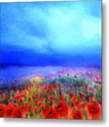 Poppies In The Mist Metal Print