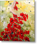 Poppies Lady Metal Print
