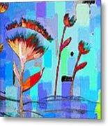 Poppies On Blue 3 Metal Print