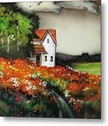 Poppies On The Old Homestead Metal Print