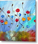 Poppy And Dragonfly Metal Print