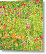 Poppy Confusion Painterly Textured Metal Print