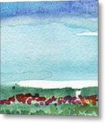 Poppy Field- Landscape Painting Metal Print