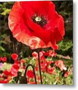 Poppy Watercolor Effect Metal Print