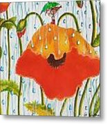 Poppy With Piper  In The Rain Metal Print