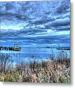 Poquoson Yacht On Stormy Morning Metal Print