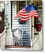 Porch With Flag And Wicker Chair Metal Print