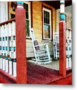 Porch With Red White And Blue Railing Metal Print by Susan Savad