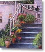 Porch With Watering Cans Metal Print