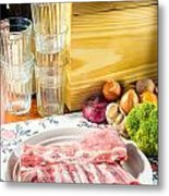 Pork Ribs With Vegetable Metal Print