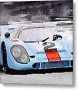 Porsche 917 Gulf Watercolor Metal Print