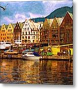 Port Life Watercolor Metal Print
